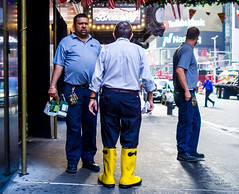The New Yorkers - Yeah, you got plastic boots (François Escriva) Tags: street streetphotography us usa nyc ny new york people candid olympus omd photo rue sun light man colors sidewalk yellow blue men boots city times square back
