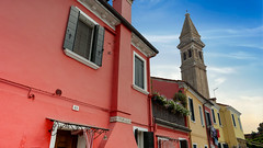 Burano's Leaning Tower (Sworldguy) Tags: a73 sonya73 burano italy historical architecture painted leaning belltower tourism travelphotography streetview stmartinbishop church