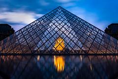 Triangles (jwowens) Tags: paris louvre pyramid urban architecture france dusk clouds longexposure reflection