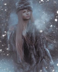 Dee~Her beauty shames a rose..... (Skip Staheli *10 YEARS SL PHOTOGRAPHER*) Tags: skipstaheli secondlife sl avatar virtualworld dreamy digitalpainting winter snow snowflakes blonde delindadench delindastaheli beauty cold
