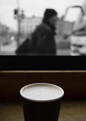 A pedestrian coffee (Shaka1277) Tags: fuji fujicron 23mm fujifilm coffee mono monochrome colour monochromatic street streetphotography dublin xt2