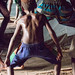 The boys dance, legs influenced by the cassowary bird