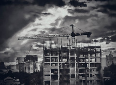 Overpopulation Construction (FotoGrazio) Tags: overpopulation waynesgrazio cebu fotograzio buildings philippines photoeffect clouds blackandwhite urbanization painterly urban waynestevengrazio construction waynegrazio dark crane urbansprawl architecture sky grunge visayas photomanipulation apartmentbuildings art