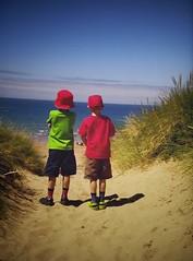 Birthday boys (daveandlyn1) Tags: children twins blueskies sand sea seaside photoofaphoto pralx1 p8lite2017 huawei smartphone cameraphone psdigitalcamera grandchildren