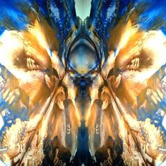 Genesis (rhonda_lansky) Tags: blueandgold art paintedmirror acrylicpourpainting mirror mirrored praying alien genesis visual texturedart blue gold sky skyabstract mirroredabstract abstract
