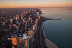 Chicago at Winter Sunset (romanboed) Tags: leica m 240 usa america winter christmas skyline aerial cityscape chicago sunset summicron28
