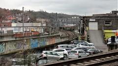 Rent-a-Car at rail junction, Namur, Belgium (Paul McClure DC) Tags: architecture belgium belgique wallonie wallonia feb2018 namur namen ardennes railroad railway