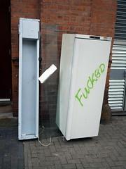 Fucked (the justified sinner) Tags: justifiedsinner panasonic 17 20mm gx7 fridge fucked spray paint streetwaste birmingham jewelleryquarter