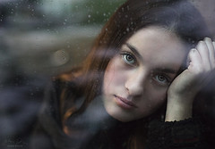 Rainy Day Mood ({jessica drossin}) Tags: jessicadrossin face portrait woman girl teen hair eyes rain window rainy storm weather glass mood moody dark