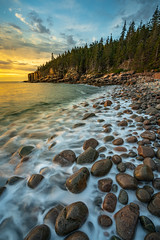 Boulder Beach (Amar Raavi) Tags: boulderbeach sunrise acadia nationalpark beach rocks boulders trees coast atlantic ocean waves longexposure landscape outdoors water maine usa barharbor unitedstates us