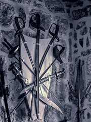 Sword Panoply (Artypixall) Tags: montenegro kotor floatingchurch sword sabers panoply display blackandwhite faa getty