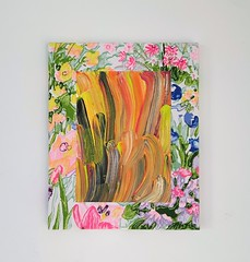 Harley, David, Jean (Frances Sousa) Tags: art contemporary modern mixed media textile floral flames abstract weird cool outsider pretty color colorful colourful avantgarde avant garde design direction vintage acrylic painting