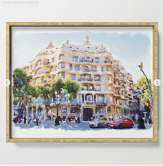 La Pedrera Barcelona Serving Tray (marianv2014) Tags: lapedrera barcelona casamila gaudi building cities thequarry citysymbols travel touristattractions watercolor watercolour watercolorpainting aquarelle trees cars lightblue green lightbrown fineart lapedreradecor artgifts affordableart illustration artwork art outdoors beautiful tourism scenery city view europe european contemporary decor landmark charming serving trays