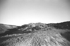 Horse Thief Canyon at Sunset - Arid Earth (Pics from the Bird Cage) Tags: fomapan fomapan100classic film bw monochrome blackandwhite analog 35mm classiccamera pentax pentaxmx drumheller drumhelleralberta ishootfilm pentaxian argentique analogue horsethiefcanyon sunset canyon