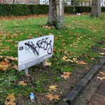 Graffiti covered, faded notice about fostering thumbnail