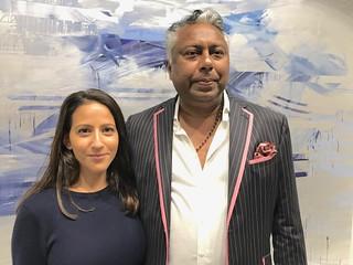 Art advisor Roxanne Cohen with art dealer Arun Paul at the art Basel VIP opening