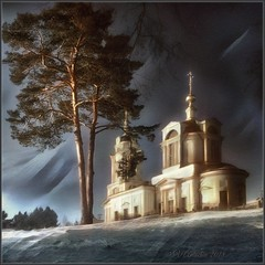 Winter evening in Komlevo. (odinvadim) Tags: iphoneart landscape iphoneonly winter iphonex iphoneography church mytravelgram painterlymobileart sunset old iphone snapseed evening artist travel frost oldhouse textured editmaster forest