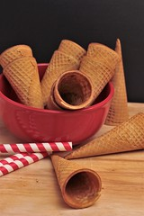 Where's the Ice Cream? (catherine4077) Tags: cones icecream icecreamcones straws redbowl