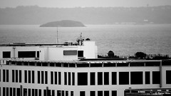 View on the sea - Brest harbor (patrick_milan) Tags: brest harbor port commerce roof sea black white