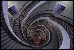 Staircase III (frankmartinroth) Tags: sony a7r3 15mm f45 architecture building indoor wide urban spiral stairway geometry stairs lines helicoid helix staircase poland modernism rotunda color voigtlander