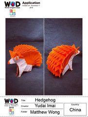 Happy WOD (World Origami Days) 2018~😁👍✌🎉🎊 .  Hedgehog - Yudai Imai Origami Paper 24cm x 24cm . #origami #摺紙 #折紙 #折纸 #折り紙 #おりがみ #paper #art #artist #paperart #origamiart #fold #paperfolding #craft #papercraft #gallery #phot (Matthew Wong Origami) Tags: 折紙 craft gallery artoftheday fold origamiart paperfolding paper artist 摺紙 origami 折り紙 paperart art おりがみ papercraft photooftheday 折纸