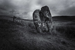 Buwch a'r Llo Standing Stones (shawn~white) Tags: bw blackandwhite bronzeage cambrians canon6d ceredigion cymru ef1635f4lis historic nik standingstone uk westwales wideangle aged ancient bold cloud conviction dramatic enchanting grass heritage magical majestic marker monochrome mystery powerful texture waymark weathered wonder worn ©shawnwhite