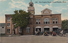 SW Grand Rapids MI c.1908 FIREMEN AND FIRE DEPARTMENT EQUIPMENT AT FIREHOUSE No. 3 523 Front NW MOTORIZED and Horse Drawn Fire Engines and Hose Wagons built in 1887 (UpNorth Memories - Donald (Don) Harrison) Tags: