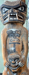 WEST COAST NATIVE ART, WOOD CARVED TOTEM,  UBC, VANCOUVER. BC. (vermillion$baby) Tags: nativeart art carvng color firstnations red westcoast wood artsculpture native pacificnorthwest artofnorthamerica artofnativenorthamerica museum carving sculpture woodcarving museums artofthenative nativeamerican indian gallery aborigine