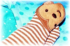 """Stripes, Dots and a Smile.""""MacroMondays"""" (marieschubert1) Tags: babyclothes colorfulsmall cute funbrown greenaua """"dots stripes"""" """"macromondays"""""""