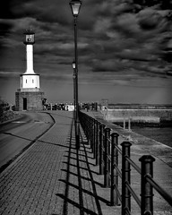 """""""Evening Shadows"""" (Pensioner Percy, very slow at the moment) Tags: maryport cumbria harbor lighthouse shadows nikond750 tamronsp70300mm england northwest port percy pensioner lampost light clouds nik bwartaward solwayfirth unitedkingdom river acdsee"""