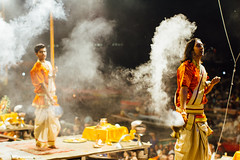 Smoke During Aarti, Varanasi India (AdamCohn) Tags: adam cohn ganga ganges india uttarpradesh varanasi aarti ceremony fire ghat night smoke streetphotographer streetphotography wwwadamcohncom adamcohn