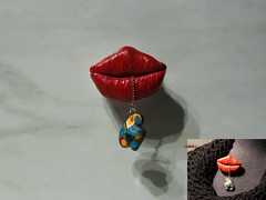 THE LIPS  (example  pearl number 1) (Fimeli) Tags: polyclay polymerclay brosche brooch handmade handwork