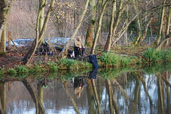 Sunday morning fishing (Halliwell_Michael ## Offline mostlyl ##) Tags: brighouse cromwellbottom westyorkshire nikond40x 2018 reflection reflections fishing angler calderhebblecanal brookfoot trees water