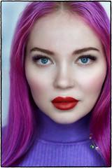 Doe. (drpeterrath) Tags: portrait people studio popular eyelashes eyelashextension feamle woman lady girl actress model celebrity color red lipstick purple lavender blue eyes