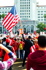 American Flag on Strike (Robrobrobert123) Tags: strike utla protest los angeles downtown teachers america nikond750 photography street california socal