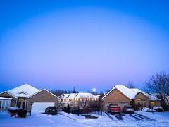 Dusk (PEEJ0E) Tags: path clear winter sky truck car evening dusk moon snow house