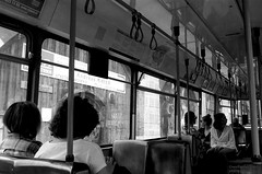 one the way with tram (Drehscheibe) Tags: analogica analog blackwhite classicblackwhite nikonf2 nikkor35mm explore tram 35mm film hp5plus poeple