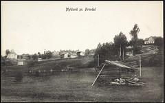 Postkort fra Agder (Avtrykket) Tags: bolighus eksteriør hest hus kirke postkort uthus vei vogn froland austagder norway