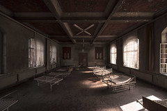 Shadows versus the light (www.MatthewHampshire.com) Tags: hospital beds abandoned