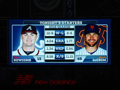 Citi Field, 09/26/18 (NYM v ATL): tonight's starting pitchers and their statistics, as shown on the right field scoreboard - Sean Newcomb for Atlanta and presumed 2018 National League Cy Young Award winner Jacob deGrom for New York (IMG_3567a) (Gary Dunaier) Tags: baseball stadiums stadia ballparks mets newyorkmets flushing queens newyorkcity queenscounty queensboro queensborough citifield