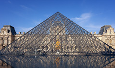 Musée du Louvre II (Jack Landau) Tags: paris france eu europe building architecture city urban buildings landmark canon 5d jack landau blue sky pyramid im pei