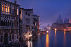 Venetian paths 135(La Salute e Punta della Dogana) (Maurizio Fecchio) Tags: venice venezia italy italia city cityscape church sky morning sunrise water canal boats lights travel architecture reflections nopeople longexposure famous place