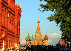 View from Red Square (Mahmoud R Maheri) Tags: stbasilcathedral redsquare moscow russia church historicbuildings sky trees daylight people
