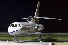 N156AW Dassault Falcon 50 Private Glasgow airport EGPF 15.12-18 (rjonsen) Tags: plane airplane aircraft aviation business jet trijet tripod night photo long exposure
