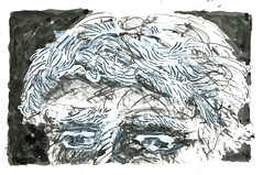 Wolfram Zimmer: At the hairdresser - Beim Friseur (ein_quadratmeter) Tags: wolfram zimmer meinzimmer wolframzimmer kunst malerei gemälde painting freiburg burg birkenhof kirchzarten ausstellung ausstellungen aktionskunst zeichnung grafik drawing graphic improvisation idee gegenständliche ungegenständliche art paintings exhibition exhibitions action idea objectively nonobjective representational nonrepresentational tusche ink rohrfeder reed haare frisur hair hairstyle