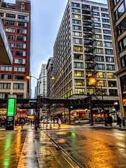 light in the Loop (christiaan_25) Tags: chicago loop theloop downtown street streets crossstreet intersection urban city buildings el eltrack cta monroe wabash monroeandwabash colors wet sheen morning streetscape cityscape cars autos traffic fireescape googlepixel3 google pixel windows steel glass