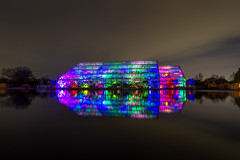 RHS Wisley Glow (alexjorgejackson) Tags: rhs wisley gardens garden surrey glow night long exposure sony alpha a6000 sigma 16mm f14 lights colourful christmas colorful art rain reflection sky clouds cloudy