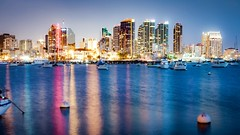 Just a moment or two (Sky Noir) Tags: city night blue hour long exposure water bay ocean boats cityscape skyline reflections tall buildings travel sky noir san diego california usa