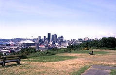 Downtown skyline from Jose Rizal Park, circa 1980s (Seattle Municipal Archives) Tags: seattlemunicipalarchives seattle seattleskyline kingdome spaceneedle skyscrapers beaconhill downtownseattle 1970s