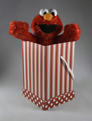 """Elmo In The Box! (❅We Got 13"""" Of SNOW!!!❅) Tags: box boxes theflickrlounge red stripes polkadots elmo lightbox"""